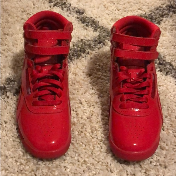 Reebok Freestyle Hi Patent Sneakers Red